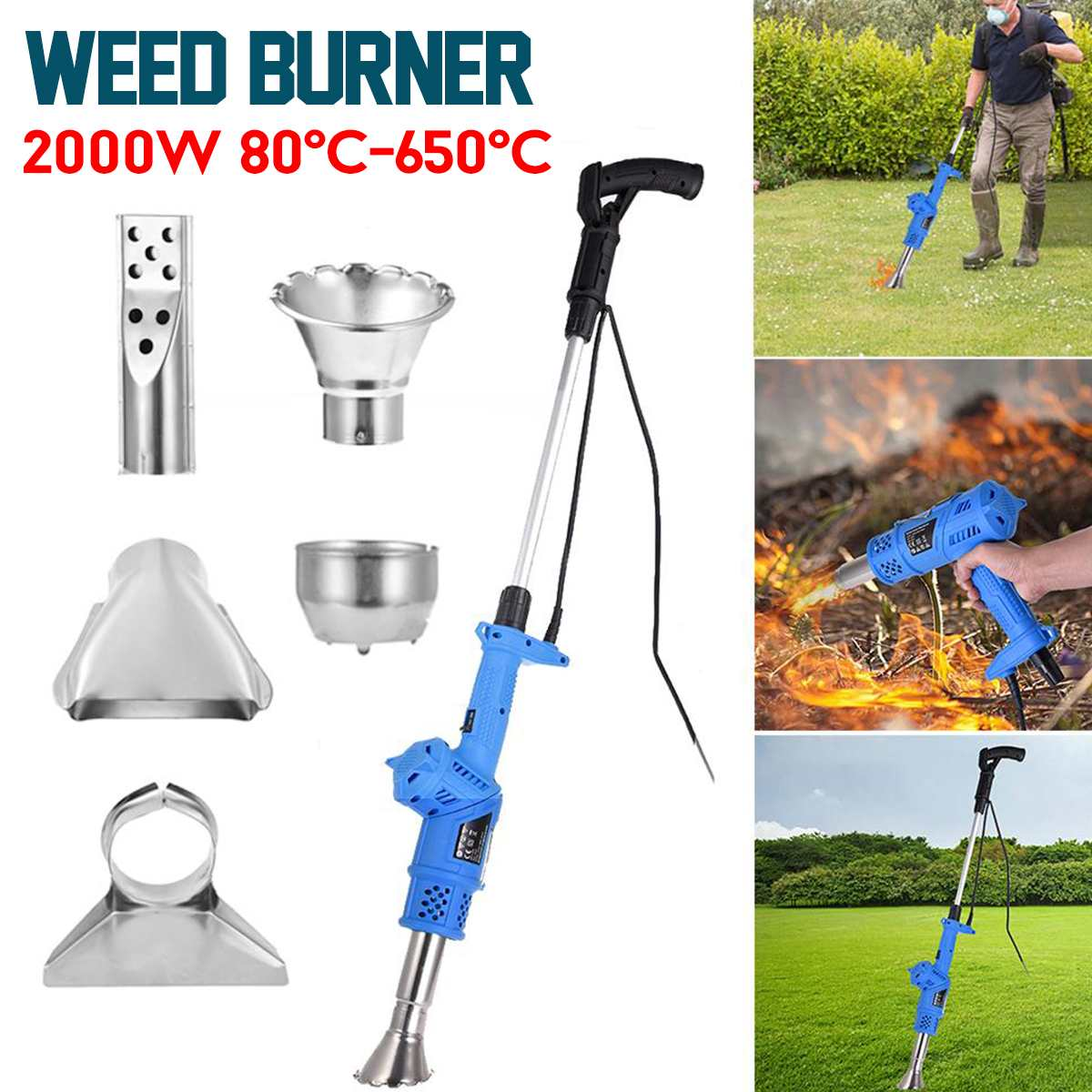 Electric Lawnmower Weeder 3-in-1 2000W Power Garden Tools Weeds Burner Professional Weeding High Efficiency Detachable Handle