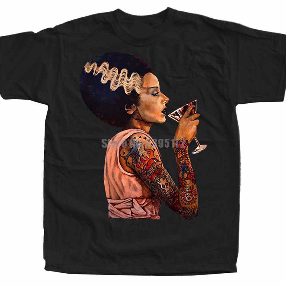 The Bride Of Frankenstein Movie Poster Men Funny T Shirt Streetwear Fashion Tshirt Cool Logo T-Shirt Skull T-Shirts Men Tops image
