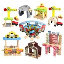 Acessórios de madeira da trilha do trem da faia conjunto trilha do trilho do túnel da ponte plataforma giratória diy estrada ferroviária brinquedo para crianças