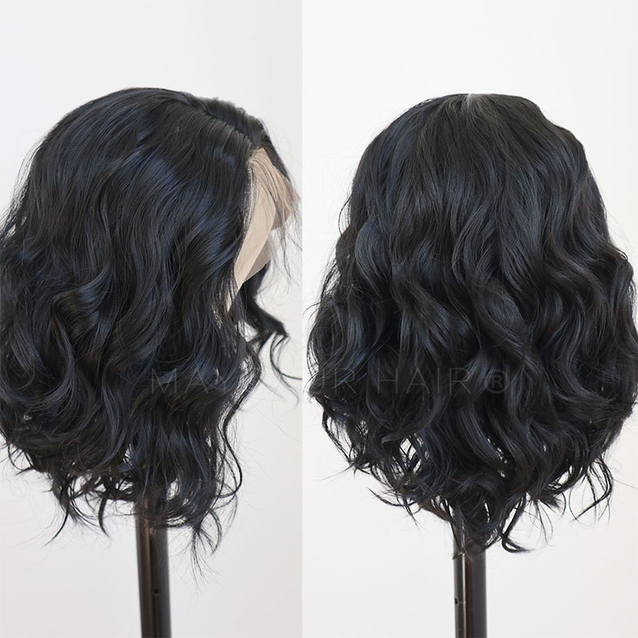 Maycaur Lace Front Wig Black Short Bob Wigs for Fashion Women Synthetic Wig Heat Resistant Soft Fiber Wavy Wigs (3)