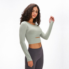 ARDOR Padded Gym Sport Long Sleeved Shirts Women Thicken Nylon Yoga Fitness Crop Shirts Long Sleeve with Thumb Holes