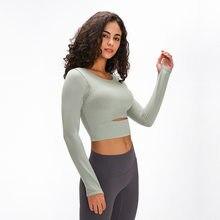 ARDOR yastıklı spor spor uzun kollu gömlek kadın kalınlaşmak naylon Yoga spor kırpma gömlek uzun kollu başparmak delikleri ile