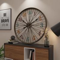 Vintage Large Iron Art Wall Clock Modern Design Living Room Decoration Bar Cafe Hanging Watch Metal Wall Clocks Home Decor 60 cm