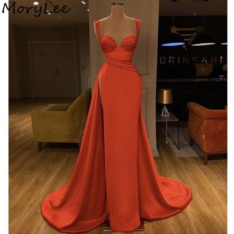 Evening Dresses Sweetheart Sleeveless Floor Length Side Slit Mermaid Silk Satin Evening Dresses Vestidos De Fiesta De Noche