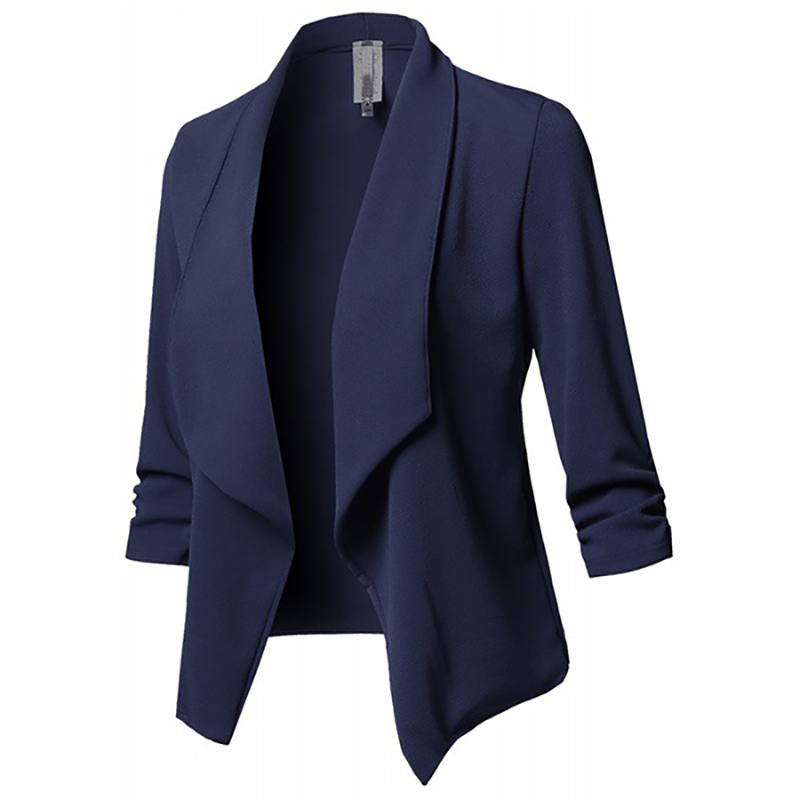 Image 2 - Women Blazer Jackets Female Retro Suits Coat Feminino OL Blazers Outerwear Plus Size Open Front Short Cardigan Plus Size S 5XL-in Blazers from Women's Clothing