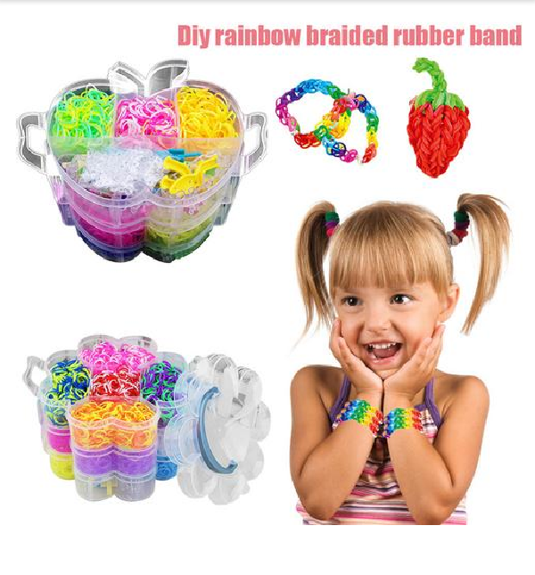 4000pcs Colorful Rubber Loom Bands Weave Elastic Make Bracelet Tool DIY Set Kit Box Girls Gift Kids Toys For Children 8 10 Year
