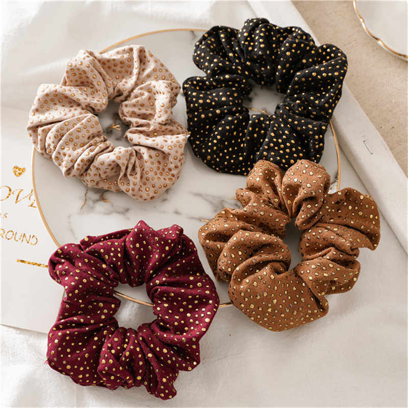 Punk Style Gold Rivet Hair Scrunchies For Women Vintage Hair Rope Elastic Dot Ponytail Holder Hair Bands Hair Accessories