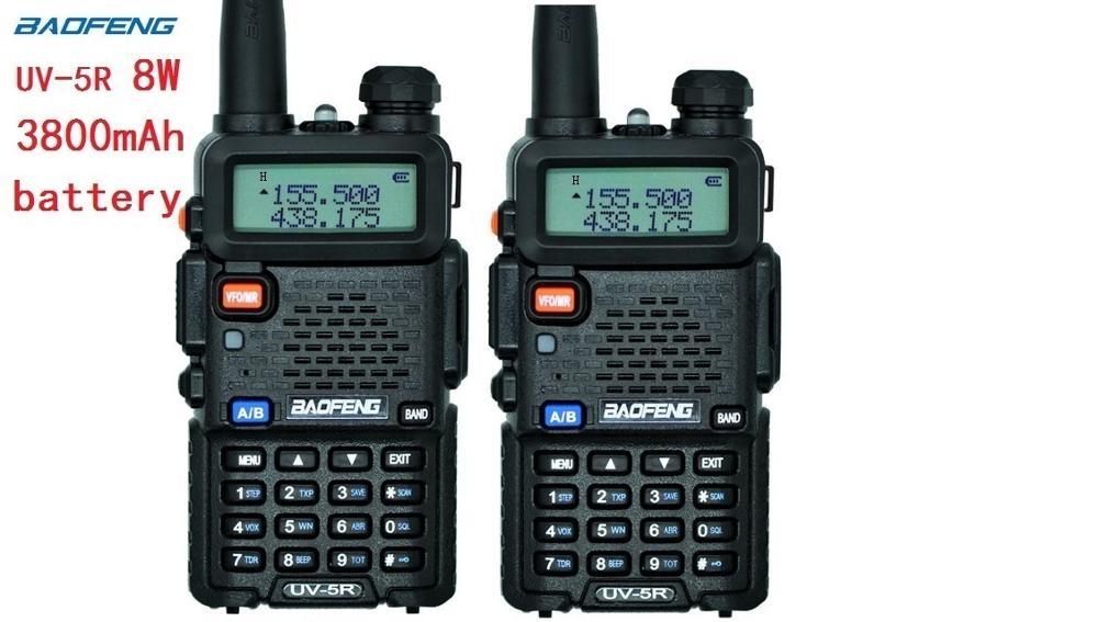 2pcs Uv-5r High Power Real 8w Version Trile Power Baofeng For Two Way Radio VHF UHF Dual Band Portable Radio Walkie Talkie Uv 5r