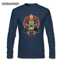 Baby Baph Color Baphomet Too cute to be evil Fashion T shirts New Men's T-shirt Cartoon Long Sleeve O-Neck Satanic Goat Baphomet(China)