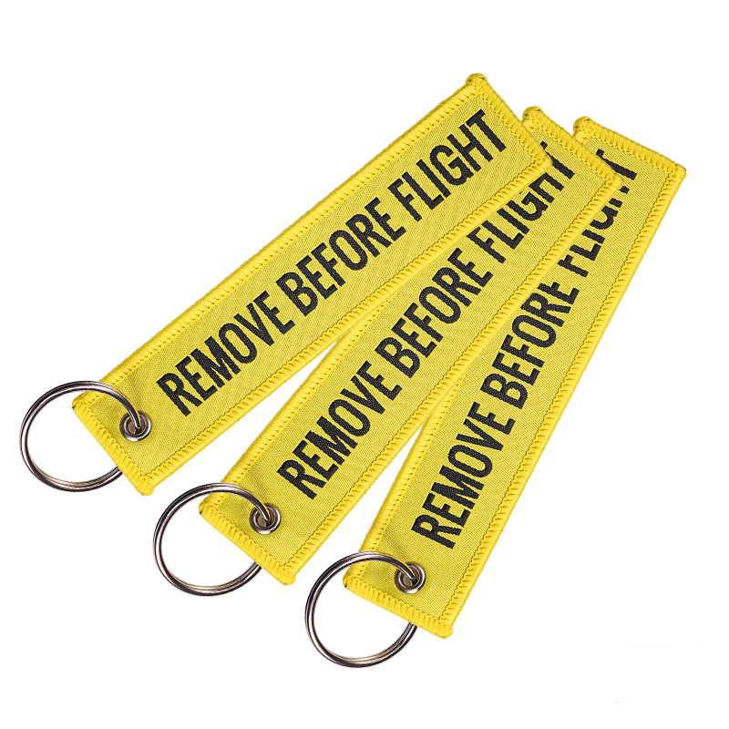1 PCS Remove Before Flight Tags Keychain Keyring Rectangle Polyester Embroidery Message Multicolor 13*3CM