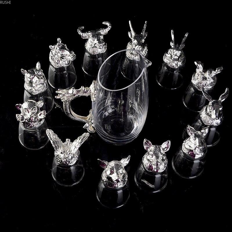 Boîte-cadeau en verre de cristal avec diviseur de verre de vin du zodiaque