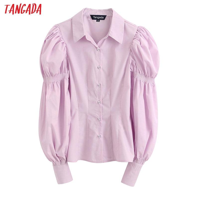 Tangada Women Retro Pink Cotton Blouse Long Sleeve Chic Fashion Female Casual Loose Shirt Blusas Feminina BE159