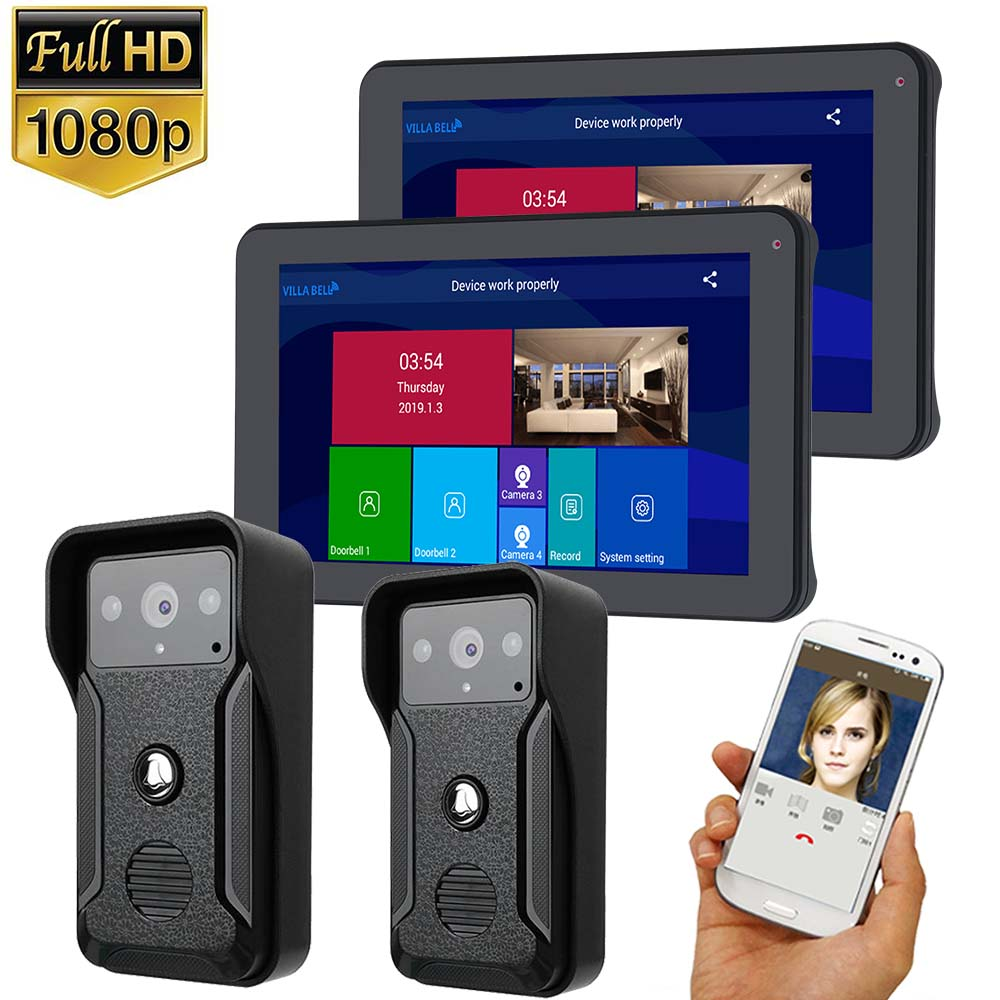 Wifi/wired Video Intercom System Kit 9 Inch Door Monitor Video Door Phone Intercom 1080P Recording Support TF Card