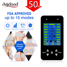 EMS Tens Machine Unit Electric Massager Pulse Muscle Stimulator Electrode Pads Digital Therapy Pain Relief Machine 15 Modes Tens
