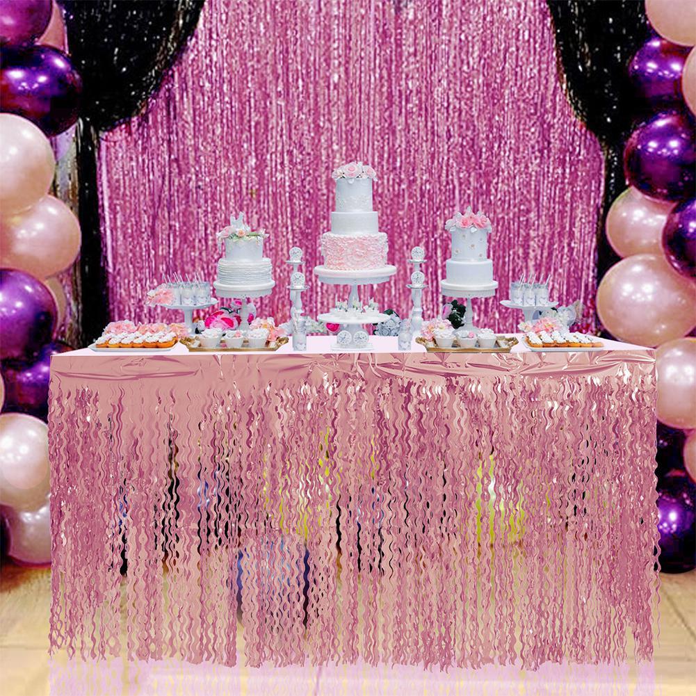 Rose Gold PET Tulle Tutu Table Skirt Glitter Spiral Tassel Table Skirt  For Wedding Birthday Party Tableskirt Decoration 275x75