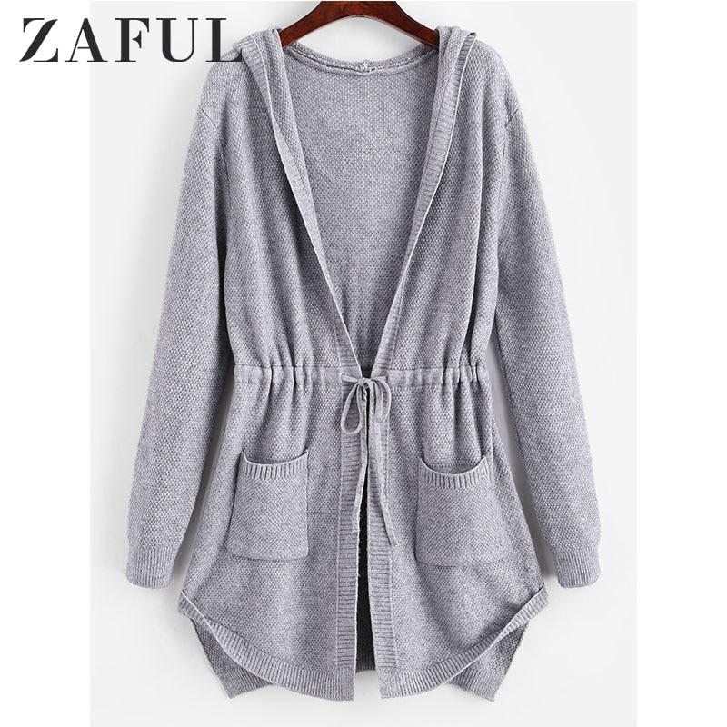 ZAFUL Hooded Drawstring Pockets Longline Cardigan Women Long Hooded Sweaters High Waist Long Tops Streetwear 2019 Autumn