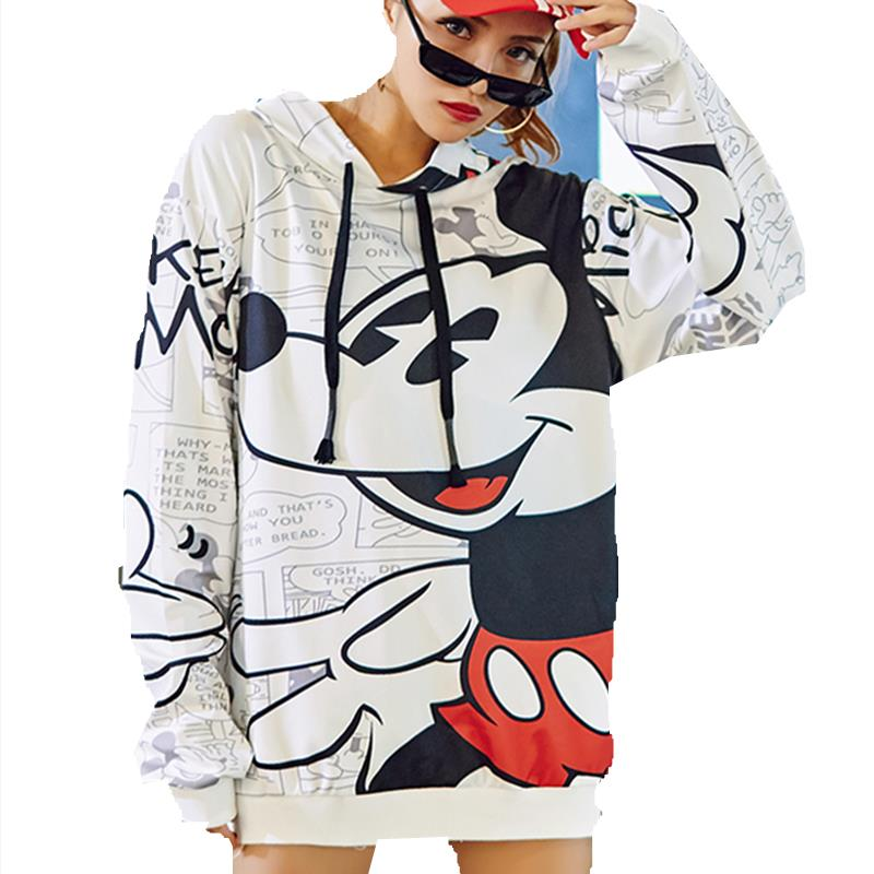 High Quality 2019 New Autumn Winter Mickey Cartoon Printed Pullover Women Sweatshirt Female Fashion Loose Hoodie Sweatshirts