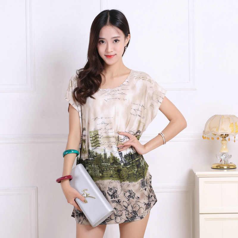 חדש 2019 נשים קיץ חולצה בתוספת גודל בגדי חולצות & tees סקסי הדפסה קצר שרוול o-צוואר מזדמן אופנה טוניקת 5XL גדול גדול