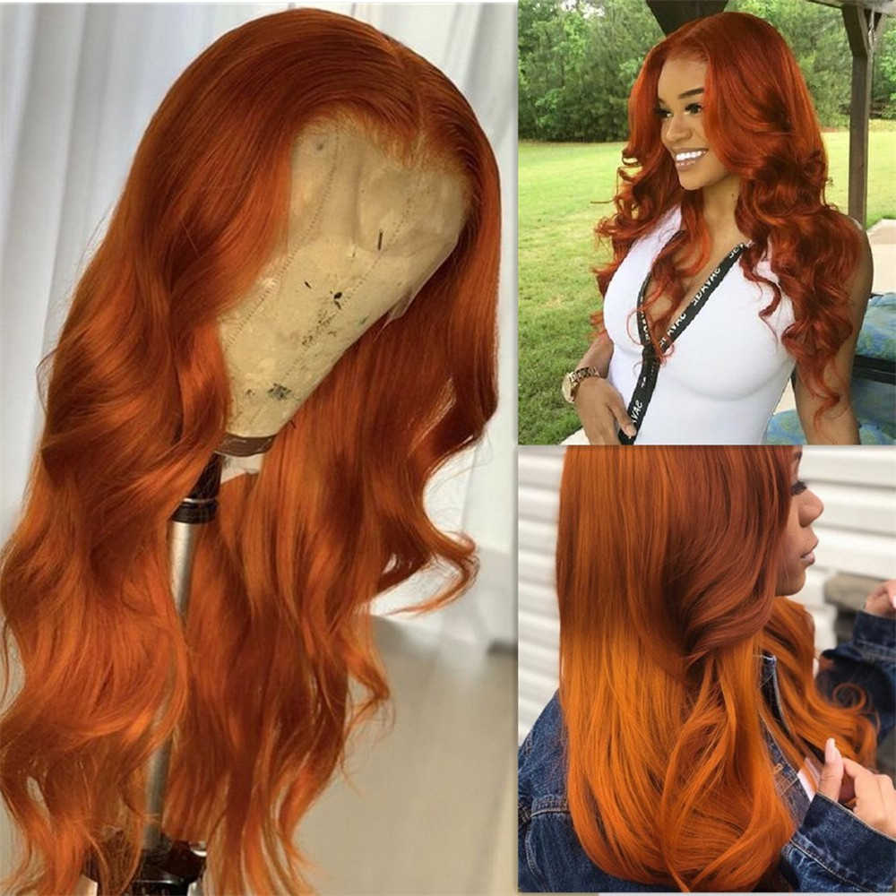 180 Density Orange Colored Blonde Human Hair Full Lace Wigs Natural Wave Brazilian Remy Hair Middle Part Glueless Wig