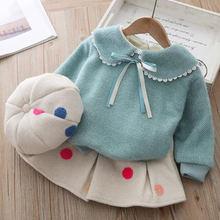 Зимняя теплая одежда для маленьких девочек детская юбка в горошек