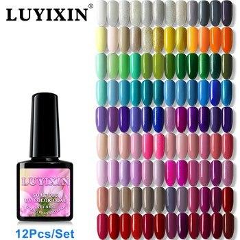 LUYIXIN Nail Art 120 Colors Gel Nail Polish 12Pcs Set Black Bottle UV LED Lamp Manicure Kit Decorations
