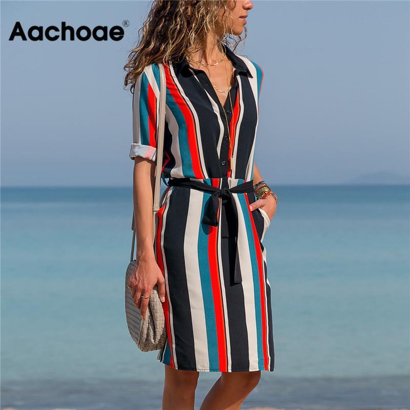 Aachoae Dress 2020 Summer Striped A-line Print Boho Beach Dresses Women Long Sleeve Office Shirt Dress Mini Party Dress Vestidos