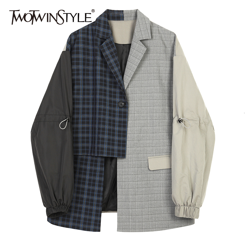 TWOTWINSTYLE Women Blue Plaid Asymmetrical Big Size Blazer New Lapel Long Sleeve Loose Fit Jacket Fashion Spring Autumn 2020