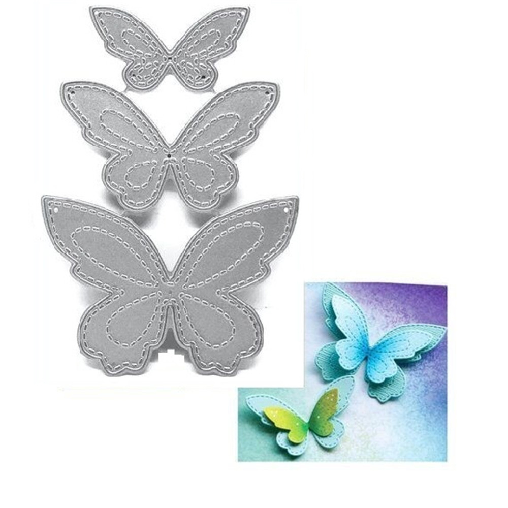 3PCS/Set Butterfly Metal Cutting Dies Stencil for DIY Scrapbooking Album Embossing Paper Cards Making Decorative Crafts Die Cuts image
