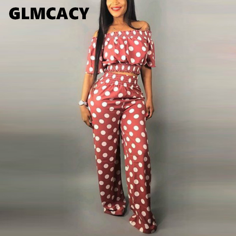 Women Summer Sexy 2 Pieces Outfits Polka Dot Printed Off Shoulder Crop Top And High Waist Long Pants Elegant Streetwear Workwear