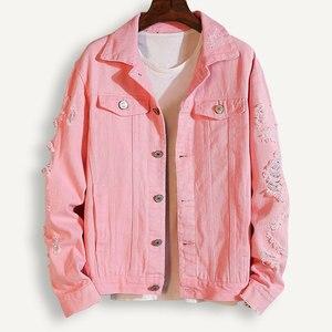Image 4 - Plus Size Loose Ripped Black Denim Jacket Women 4Xl 5Xl Spring Streetwear Pink Red Basic LoverS Jeans Coat Casual Outwear