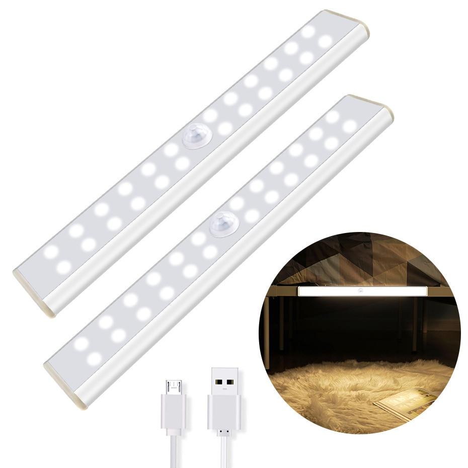 Motion Sensor Activated Cabinet Light Build In Rechargeable Battery Magnetic LED Sensor Lights 24 40 60 LED For Closet Wardrobe