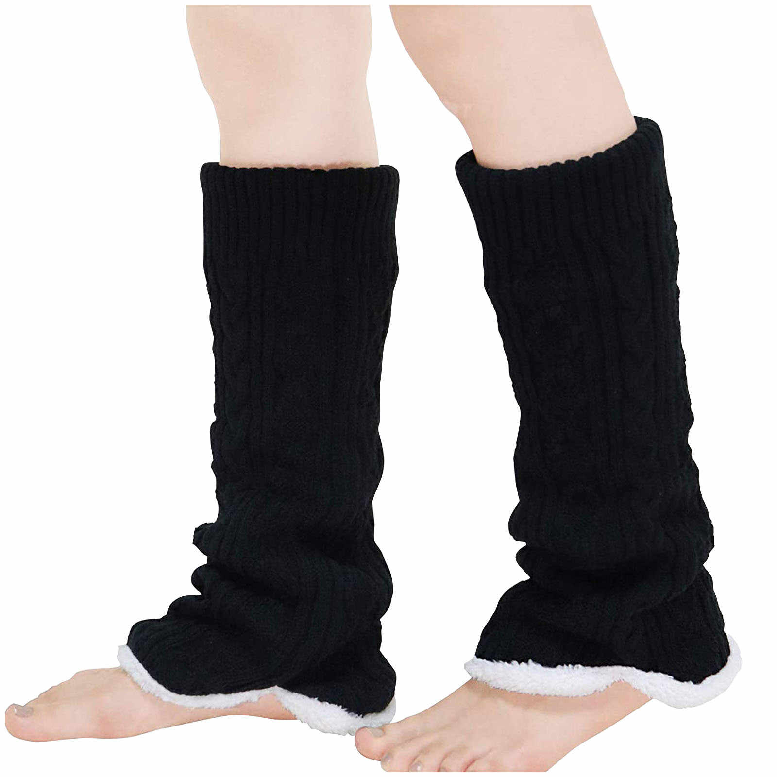 HUAhuako Leg Warmers Autumn Winter Fashion Bowknot Pompom Knit Boot Socks Cuffs Toppers for Kids Girls Outdoor Activities Black