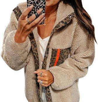 Faux Fur Coat Female Leopard Print Hooded Jacket Casual Winter Coat Women Warm Faux Fur Teddy Coat manteau fourrure femme D25 pearl beading faux fur coat