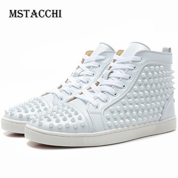 MStacchi Fashion Men Sneakers Suede Genuine Leather Rivet Lace-Up Male Leisure Footwear Outdoor Motion Walking Shoes Size 35-47