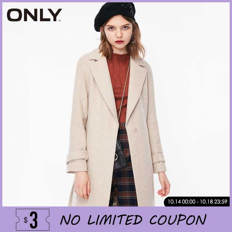 ONLY Winter Women Mid-length Herringbone Wool Coat Jacket| 11834S532