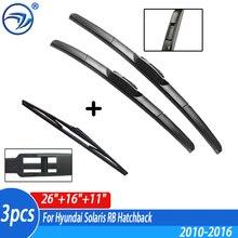 "Limpador Dianteiro & Traseiro Wiper Blades Set Kit Para Hyundai Solaris Hatchback 2010 2011 2012 2013 2014 2015 2016 26 RB ""16"" 11"""