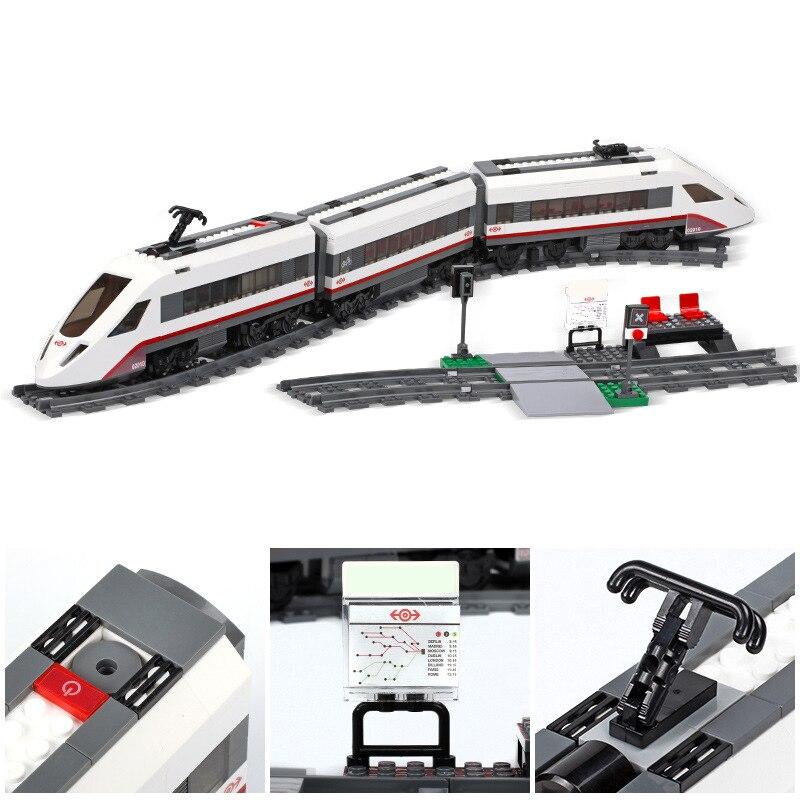 مدينة الركاب قطار متوافق مع Legoed 60197 60051 10183 3677 اللبنات الطوب أرقام التعليمية لعب للأطفال-في حواجز من الألعاب والهوايات على  مجموعة 3