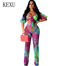 KEXU Vintage See Through Two Pieces Sets Lace-up Hollow Out Grid Jumpsuits Female Summer Boho Beach Holiday Casual Playsuits