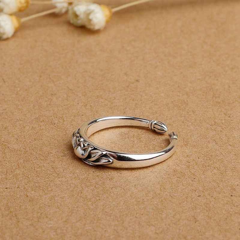 V.YA 100% Plata de Ley 925 flor de loto anillos abiertos para mujeres estilo chino señora Vintage joyería Envío Directo