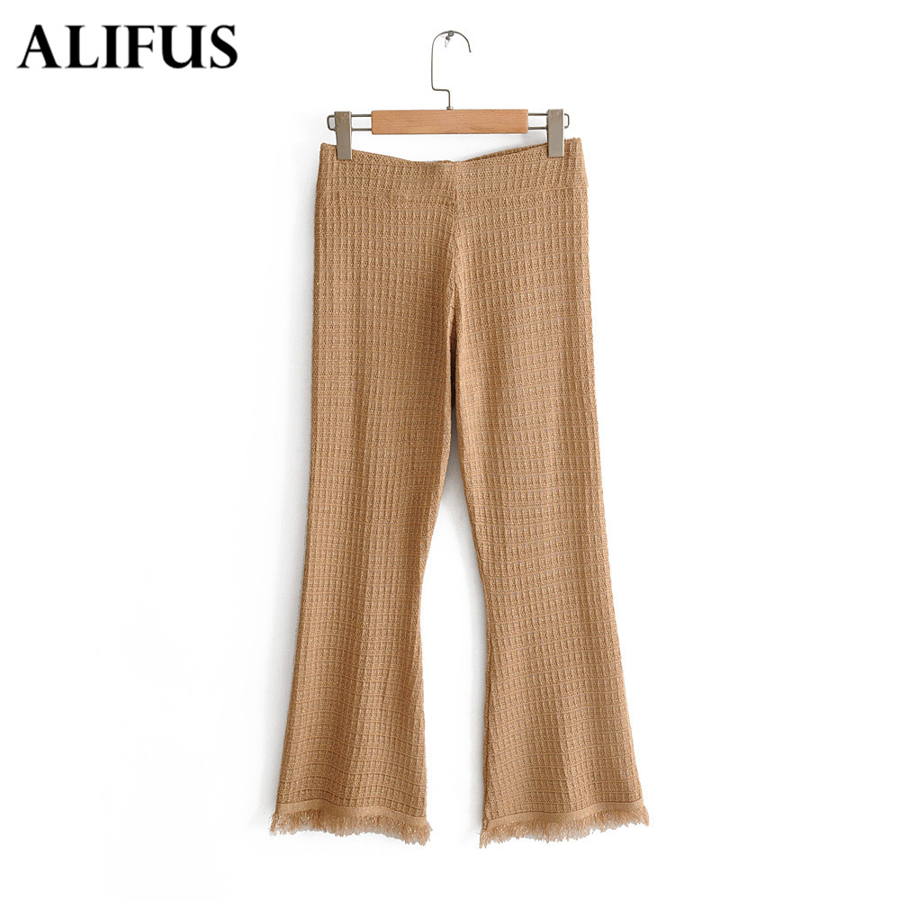 Fashion Za Women Elastic Waist Long Pants Ladies Burr Solid Slim Flare Wide Leg Trousers Female Casual Harem Pants Zaraing