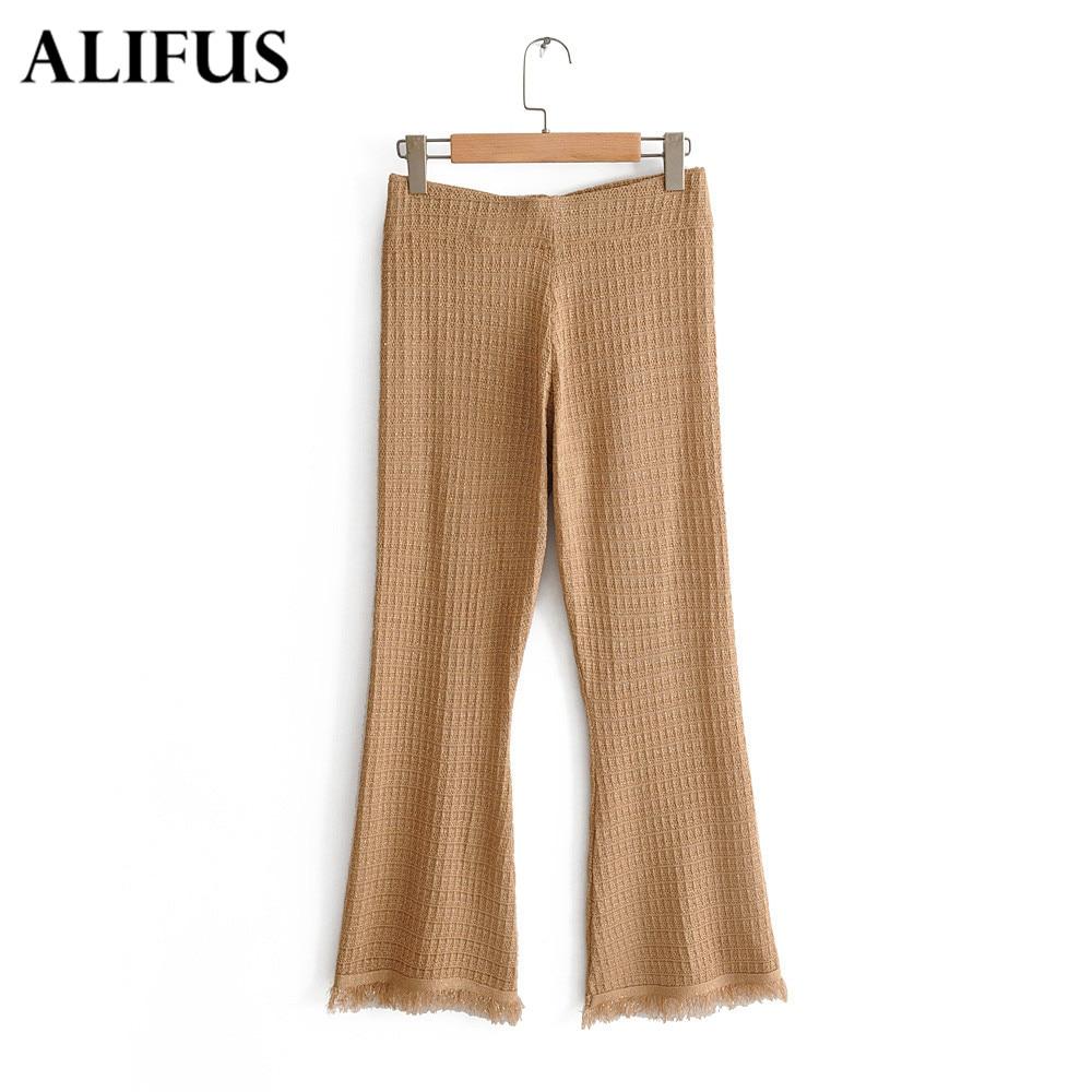 Fashion Za Women Elastic Waist Long Pants Ladies Burr Solid Slim Flare Wide Leg Trousers Female Casual Harem Pants Zaraing