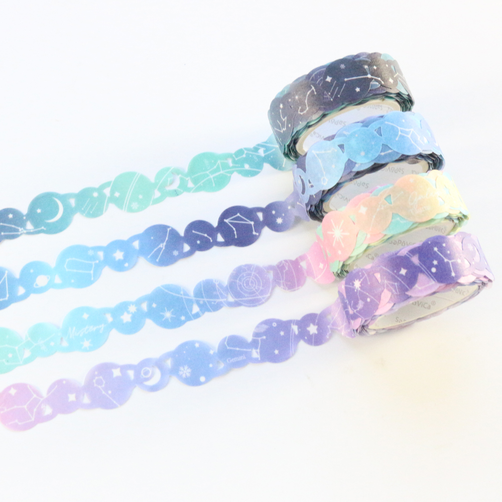 Domikee Cute Creative Hollow Sky Stars Design Bullet Journal Diary Decorative Washi Masking Tape Rolls Stationery Supplies 5m