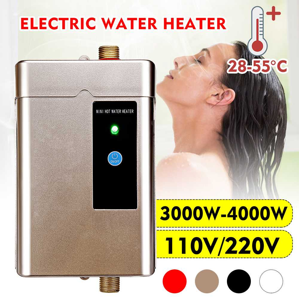 3000W/4000W 110V/220V Electric Water Heaters Stainless Steel Instant Tankless Water Heaters Temp LCD Heating Shower Universally