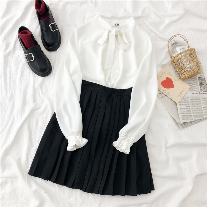 Japanese Fashion Mini Skirt Set Schoolgirl Bow Collar Long Sleeve + Pleated Ouffancy Short Skirt Matching Set Two Pieces Set