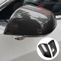 2pcs Wear Resistant Car Styling Side Mirror Cover Cap Decorative Frame Carbon Fiber Protective Accessories For Tesla Model 3