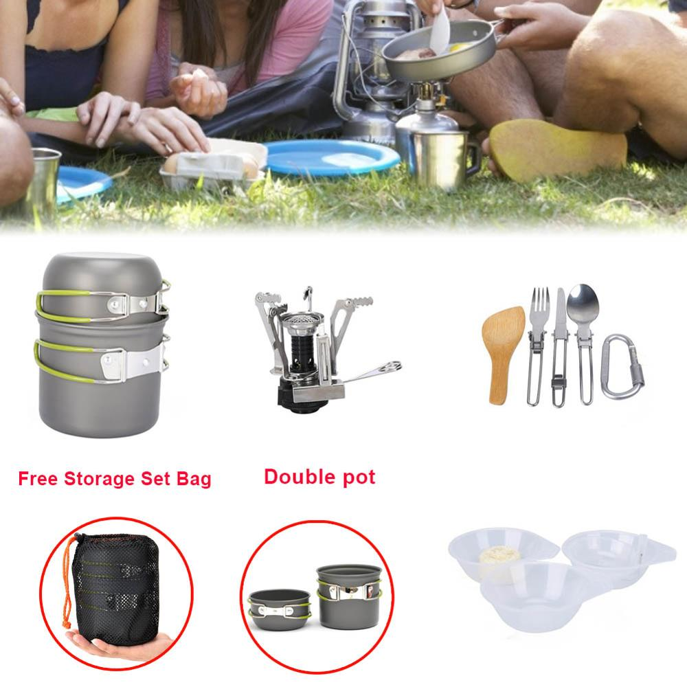 Portable Gas Cooker Cookware Camping Stove Outdoor Supplies Camping Picnic Set Combination Portable 1-2 People for Survival in T