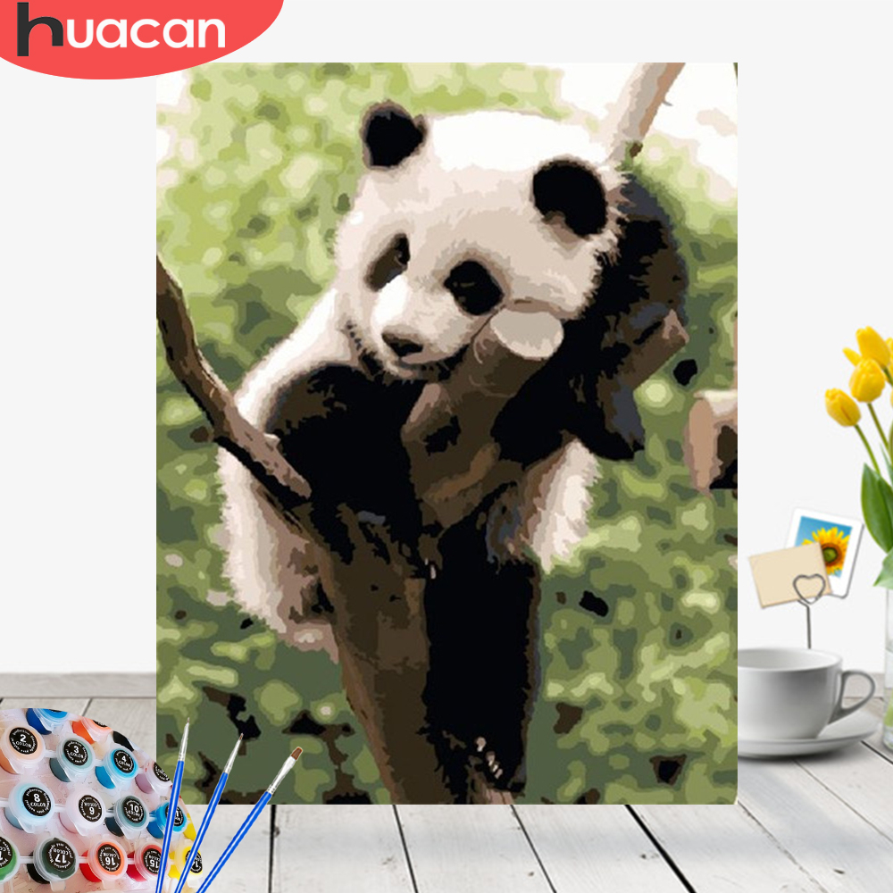 HUACAN Painting By Numbers Panda Kit Acrylic Paint On Canvas Wall Art Picture HandPainted Animals Home Decor DIY Gift