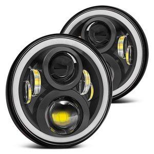 """Image 2 - 2 stücke 7 Inch Runde Halo Led Scheinwerfer für Jeep Wrangler Unlimited JK 7 """"DRL Winkel Augen led Projektor scheinwerfer"""