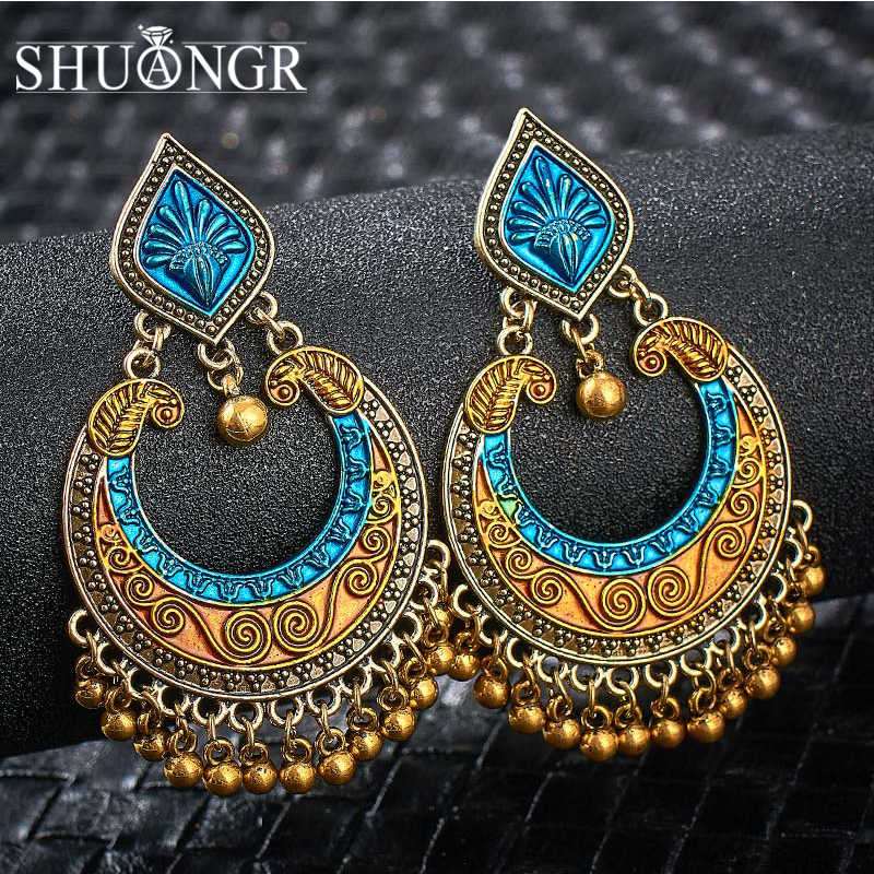SHUANGR India Jhumka Gypsy Jewelry Vintage Gold Silver Bells Tassel Earrings for Women Bohemia Jhumka Oorbellen Gypsy Party