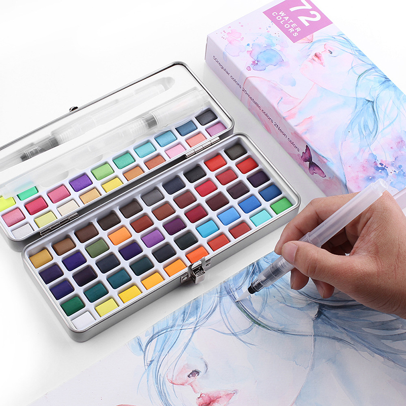Professional 50/72/90 Colors Solid Watercolor Paints Set Basic Neone Glitter Watercolor Paint for Drawing Art Paint Supplies 1